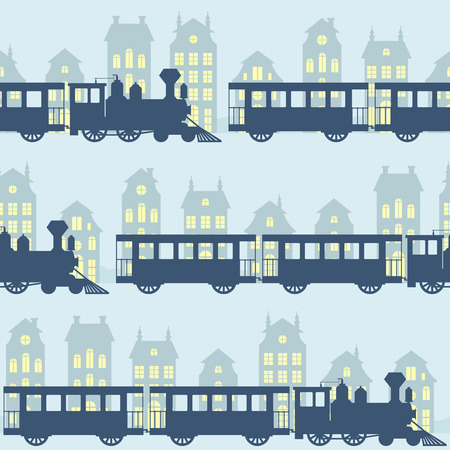 station wagon: Vintage vector seamless pattern with steam trains