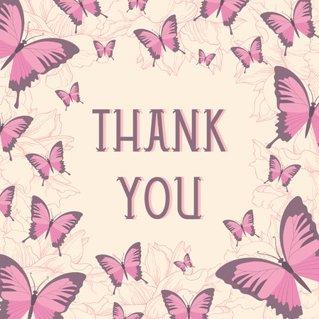 Thank you card design with butterflies Vector