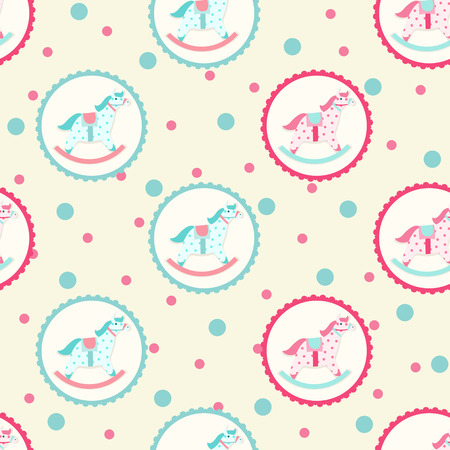 Children textile pattern with rocking horse Vector