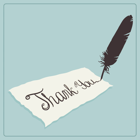 Thank you card design with calligraphic text and quill Vector