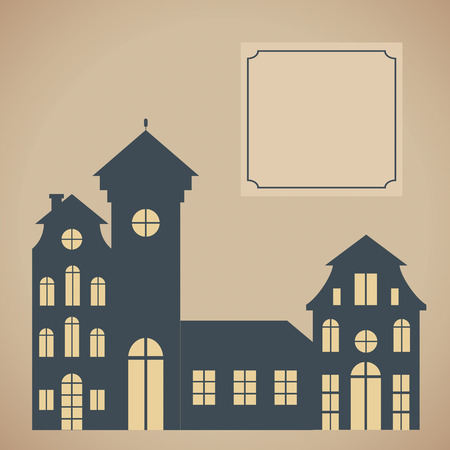 dutch landmark: European cityscape  Card template with houses silhouettes Illustration