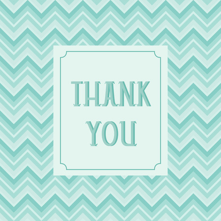 Thank you card design with chevron background Vector
