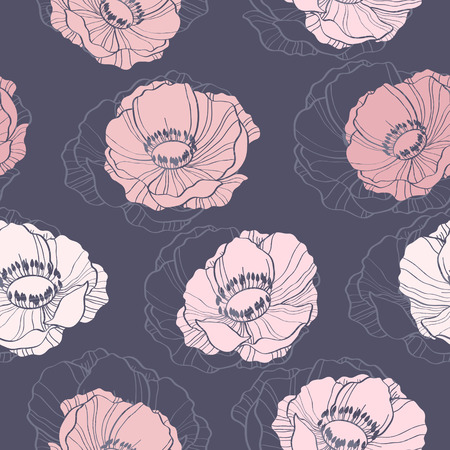 Beautiful seamless background with anemone flowers Illustration