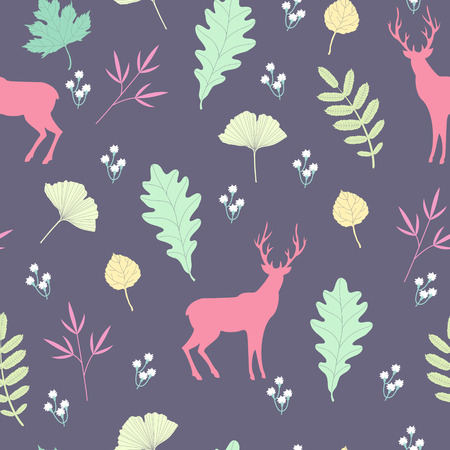 flora fauna: Summer forest pattern with deer silhouettes Illustration