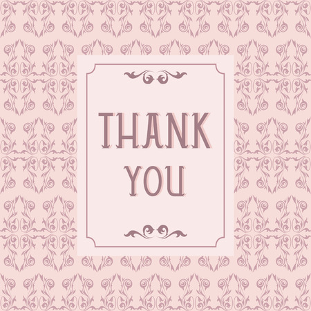 Thank you card design with vintage background Vector