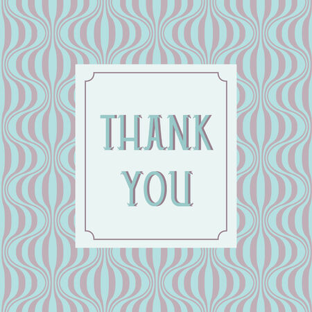 Thank you card design with retro background Vector