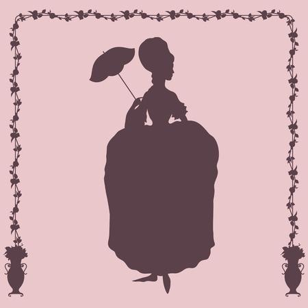 rococo style: Mujer en vestido de estilo rococ� con el paraguas