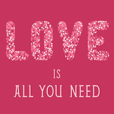 floral letters: Valentine s day quote card with floral letters