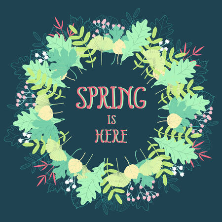Spring floral background  Beautiful wreath in fresh colors Vector