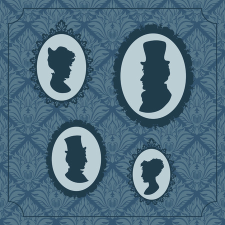 Silhouette portraits of men and women in vintage frames background Vector
