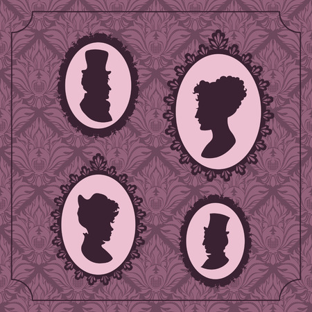 Silhouette portraits of men and women in vintage frames against vintage wallpaper background Vector