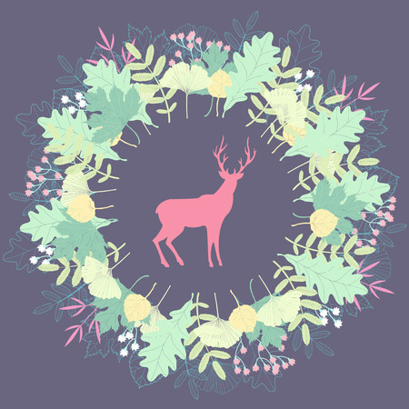 Deer silhouette in floral wreath Vector