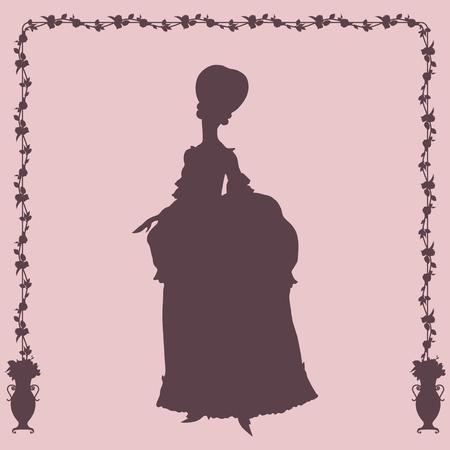 rococo style: Mujer en estilo rococ� silueta vestido Vectores