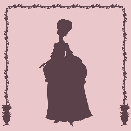 Woman in rococo style gown silhouette Vector