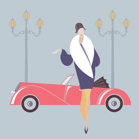 アールデコ スタイルの女性とレトロ車  イラスト・ベクター素材