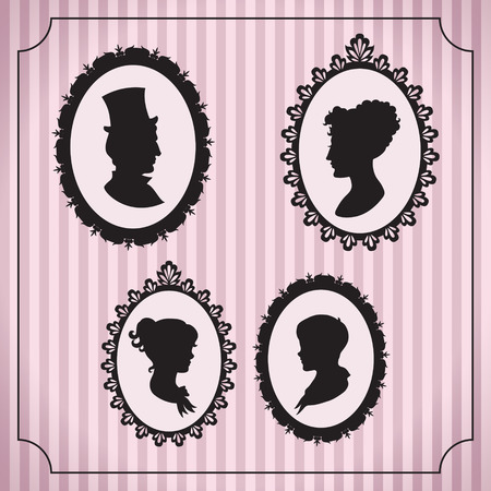 victorian lady: Family portraits in frames. Vintage vector illustration