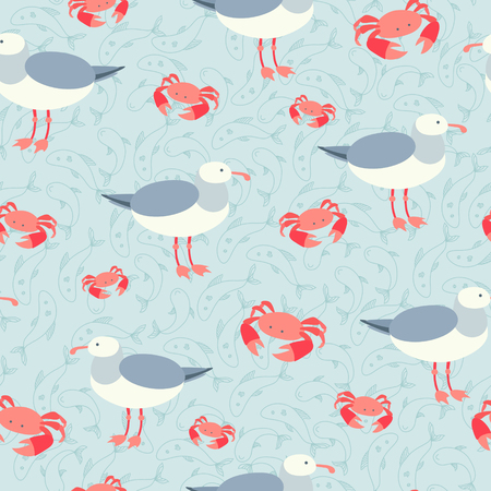 Sea gulls and crabs summer seamless background Vector