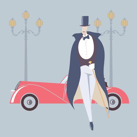 Art deco style man and retro car Vector