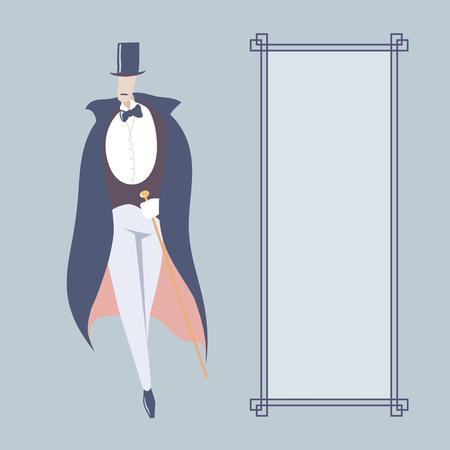 Art deco style man  Card template with rectangular frame Vector