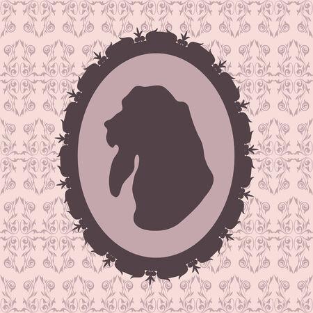 basset hound: Silueta del perro en el marco de Basset hound Vectores