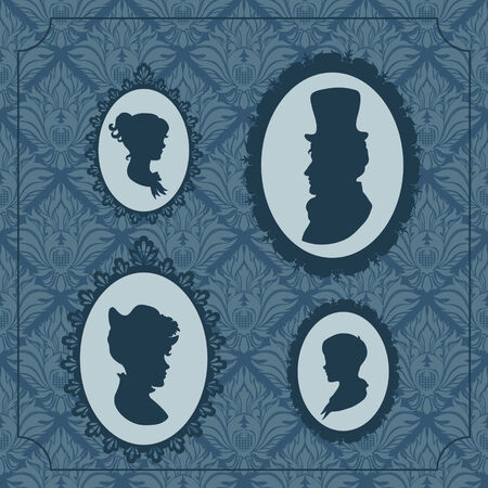 Family portraits against vintage wallpaper backgroud Vector