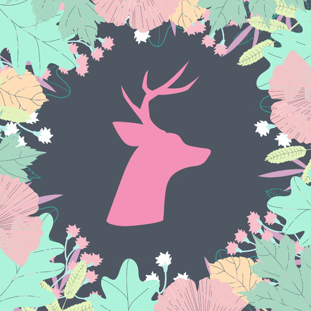 Deer head silhouette in floral wreath  Colorful vector illustration Vector