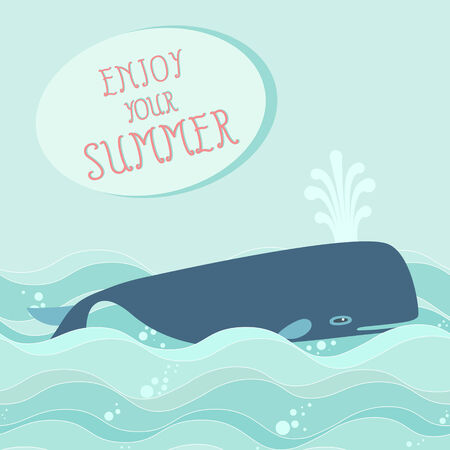 sperm whale: Whale in the ocean  Summer holidays background