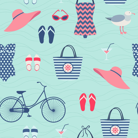 Summer beach vacation outfit seamless pattern Vector