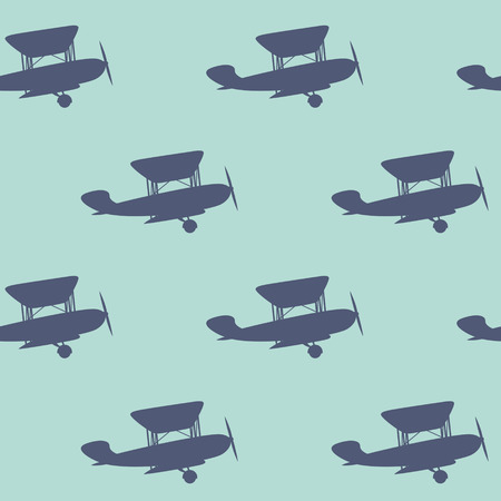 propeller: Vintage vector seamless background with aircraft