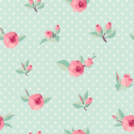 Retro style seamless background with roses 向量圖像
