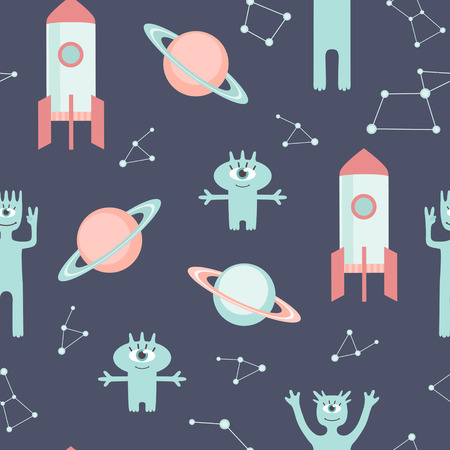 Funny space vector pattern  Children background with cute aliens Illustration