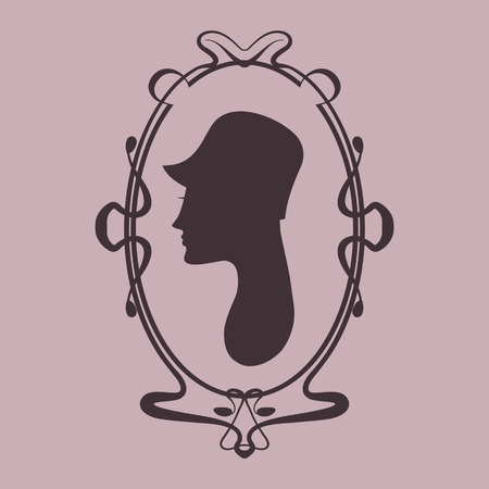 Art deco style woman silhouette portrait in frame Vector