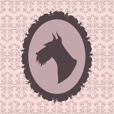 Dog silhouette in frame  scottish terrier Vector