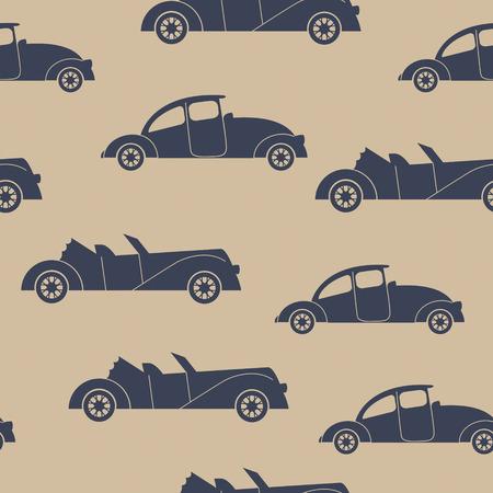 convertible car: Retro cars seamless vector background