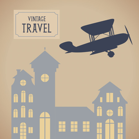 biplane: Vintage travel vector background with aircraft Illustration