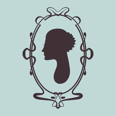 woman fur: Art deco style woman silhouette portrait in frame Illustration