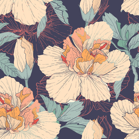 Vector seamless pattern with hibiscus flowers  Bright floral background