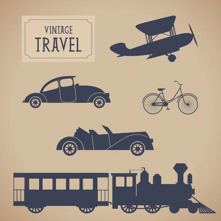 Vintage trasportation set  Steam train, aircraft, cars, bicycle  Vector