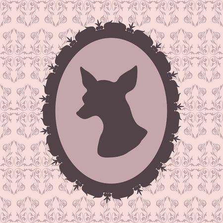 フレーム チワワ犬のシルエット