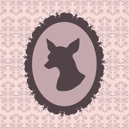 Dog silhouette in frame  Chihuahua  Vector