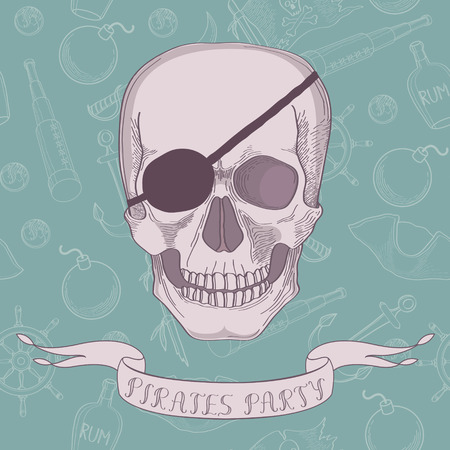 Pirates party banner with skull Vector