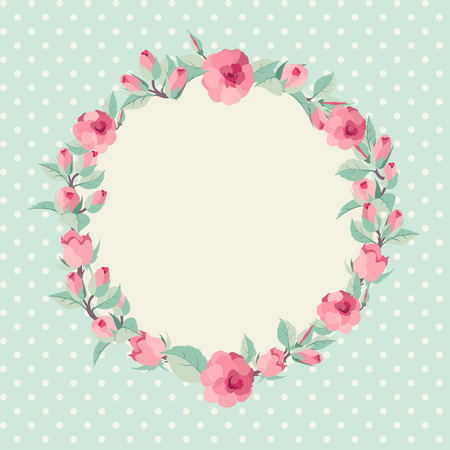 Vector floral background  Elegant wreath made of rose flowers Vector