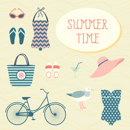 Set of summer and sea vacation symbols Vector