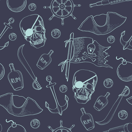 Pirates theme seamless background Vector