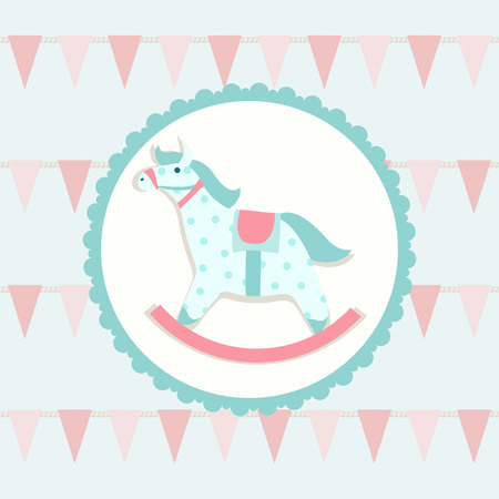 Children illustration with rocking horse Vector