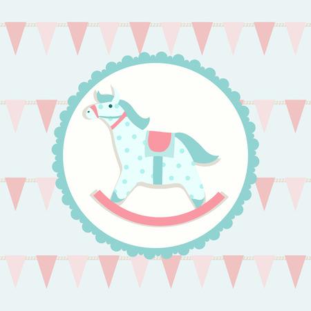 birth announcement: Children illustration with rocking horse