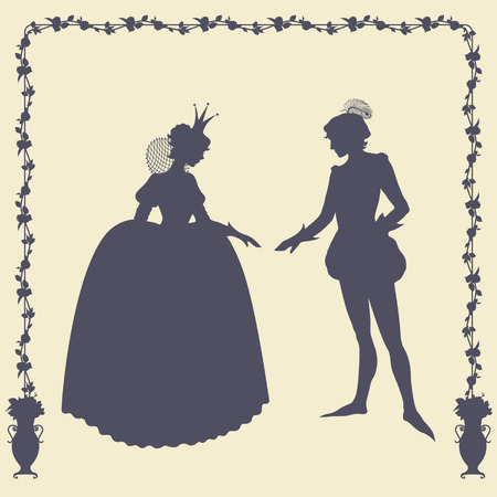 realm: Prince and princess vector silhouettes in floral frame Illustration