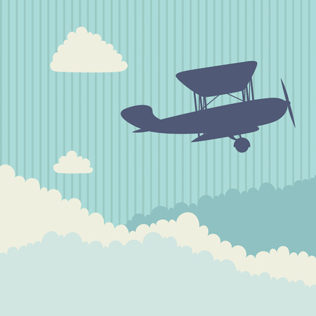 Aircraft in the sky with clouds. Vector illustration