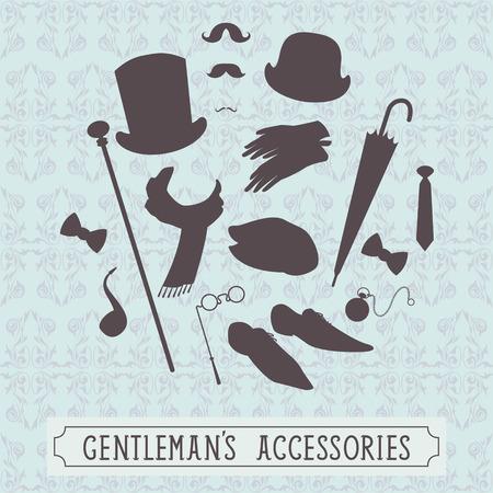 bowler hats: Vintage style set of gentleman accessories