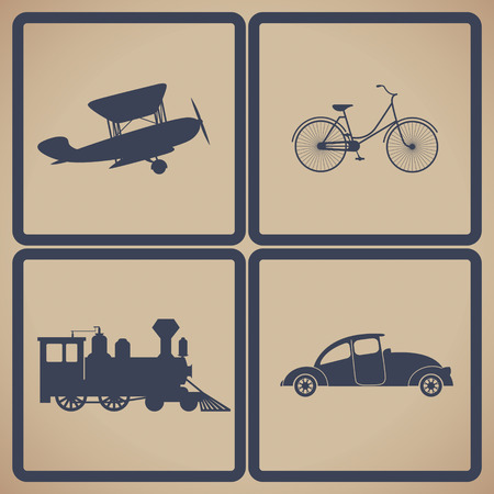 Vintage trasportation set. Steam train, aircraft, cars, bicycle. Vector